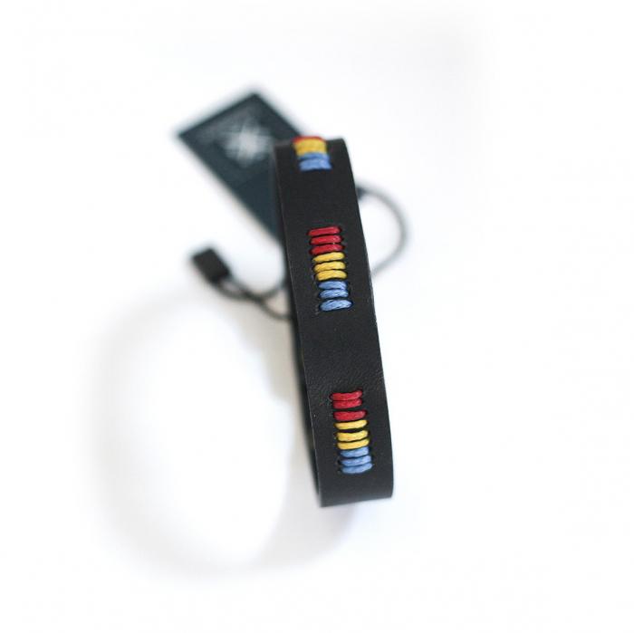 Brățară din piele - Tricolor, neagră 0