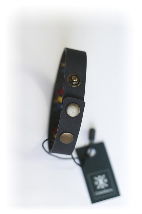 Brățară din piele - Tricolor, neagră 2