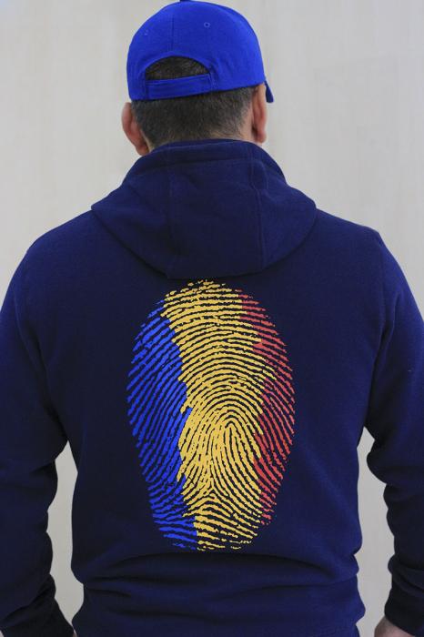 Hanorac Amprentă România, fermoar, bărbat, culoare bleumarin [3]