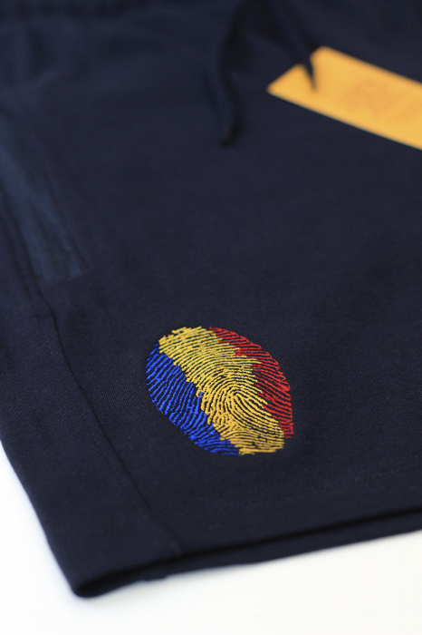 Pantaloni scurți Amprentă România, broderie, culoare bleumarin 2