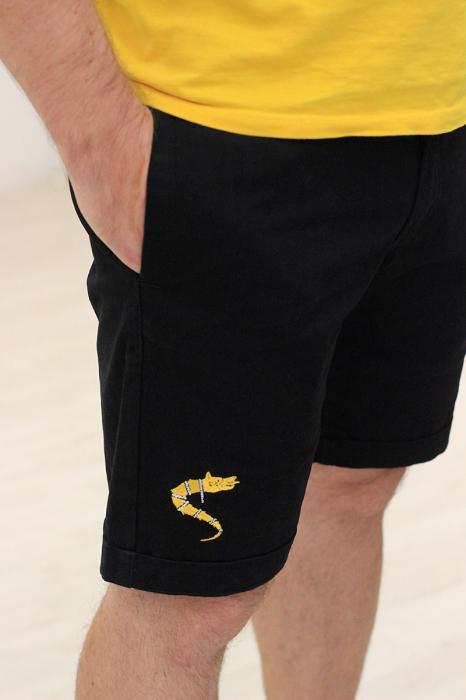 Pantaloni scurți casual Lupul Dacic, broderie, culoare neagră [1]