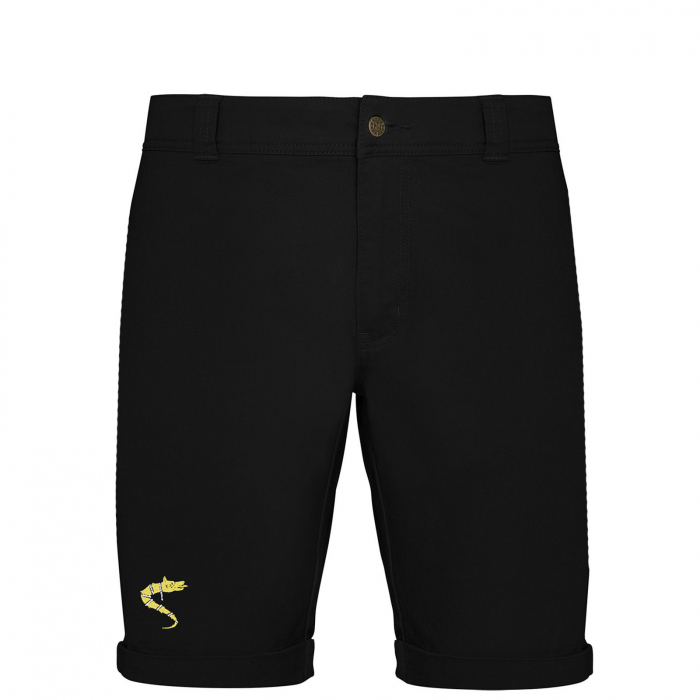 Pantaloni scurți casual Lupul Dacic, broderie, culoare neagră [0]
