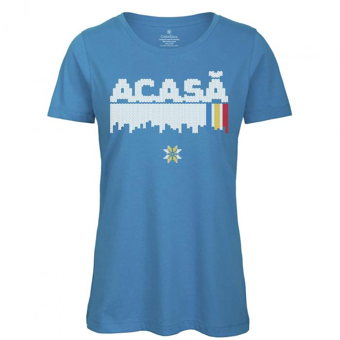 Tricou Acasă, damă, culoare albastră 0