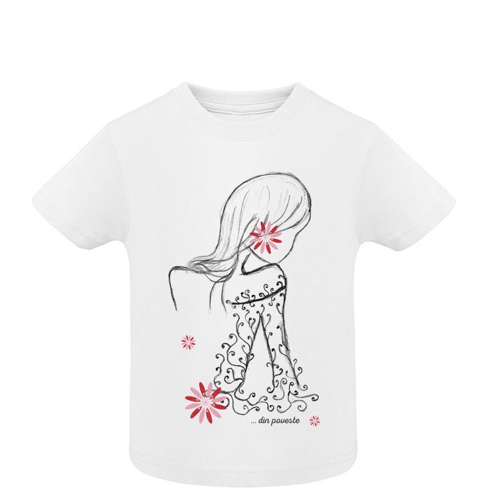 Tricou Cosânzeana, copii, culoare albă 0