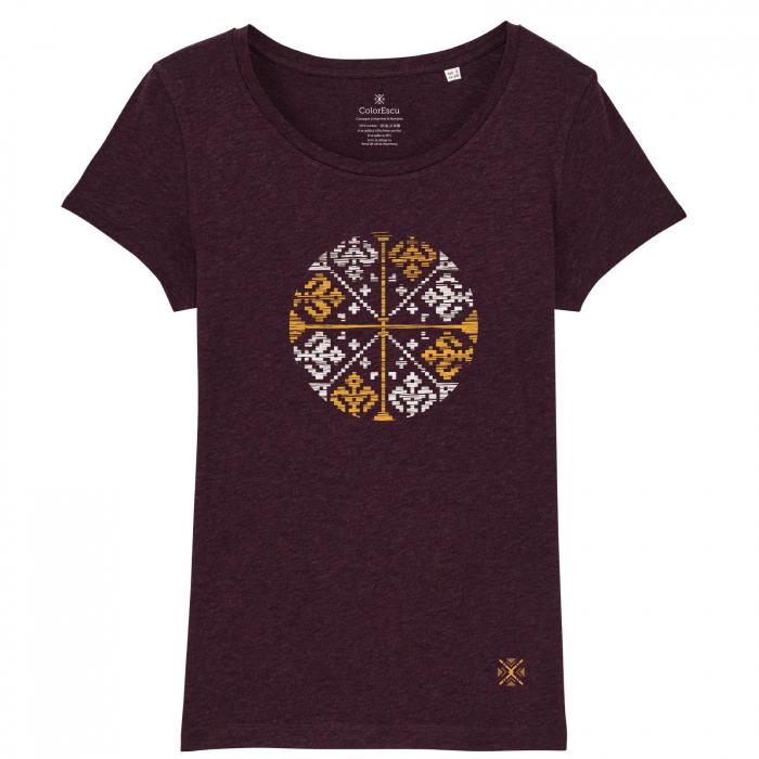 Tricou Floare Tradițională, culoare burgund 0