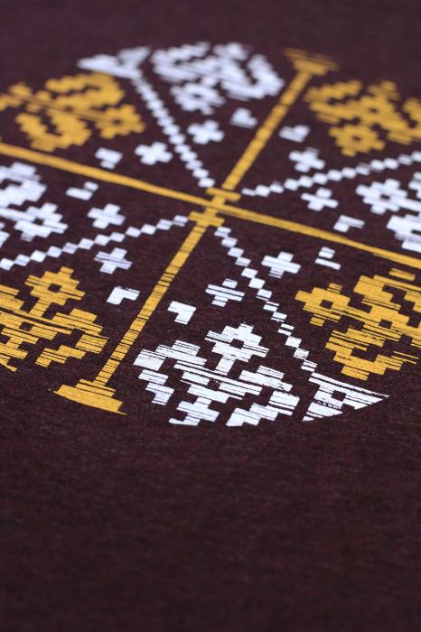 Tricou Floare Tradițională, culoare burgund 1