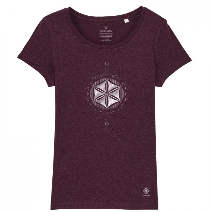 Tricou Floarea Vieții, damă, culoare burgund 0