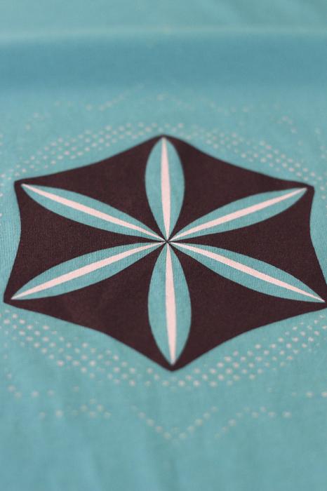 Tricou Floarea Vieții, damă, culoare turcoaz 2