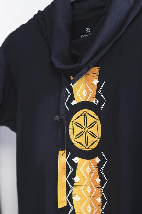 Tricou Infinitul, guler înalt, unisex, culoare bleumarin 1