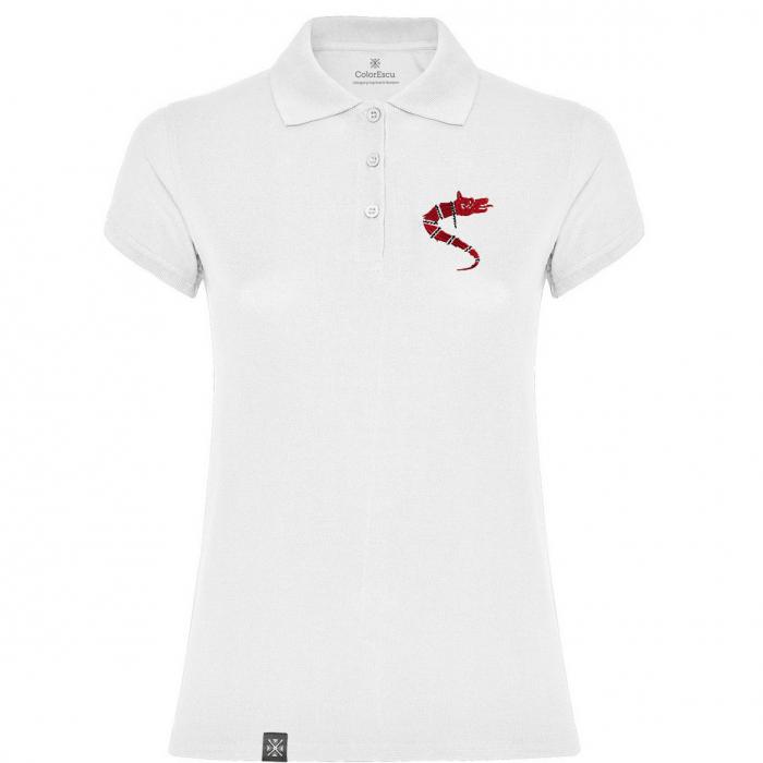 Tricou Lupul Dacic - brodat, damă, alb 0