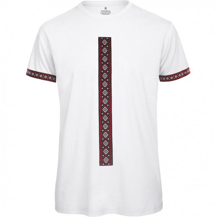 Tricou Motive Țesute - bărbat, culoare albă 0