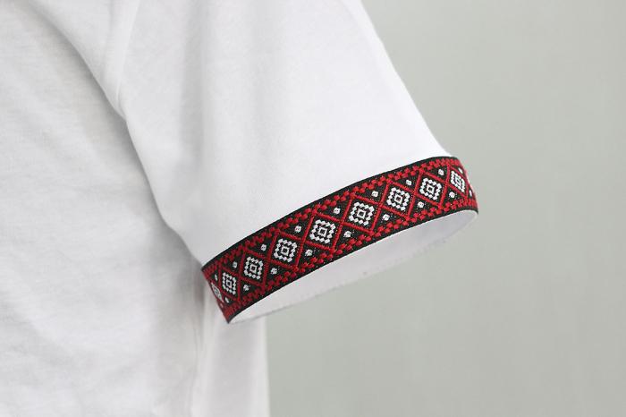 Tricou Motive Țesute - bărbat, culoare albă 3