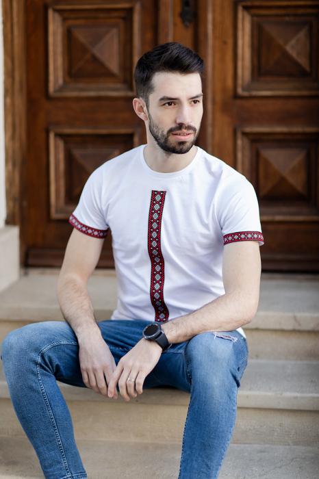 Tricou Motive Țesute - bărbat, culoare albă 1