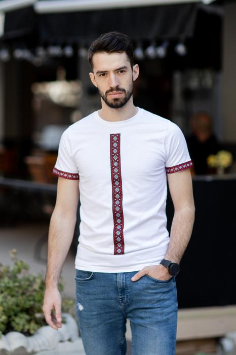 Tricou Motive Țesute - bărbat, culoare albă 2