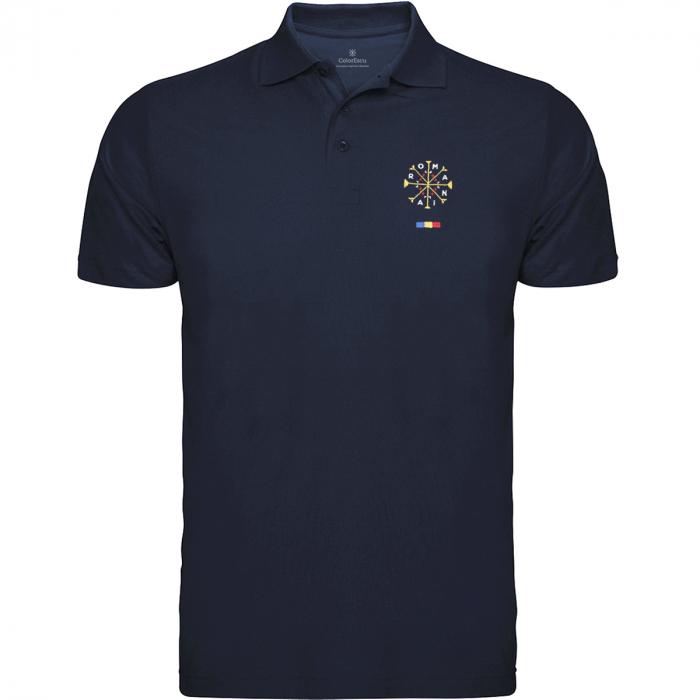 Tricou România - polo, brodat, bleumarin 0