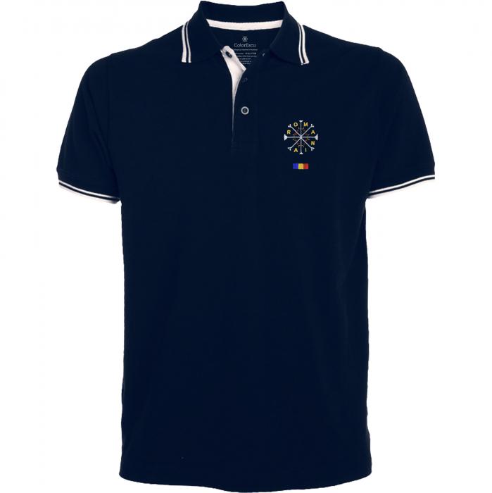 Tricou România broderie, culoare bleumarin [0]