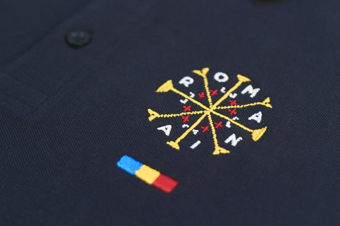 Tricou România - polo, brodat, bleumarin 3