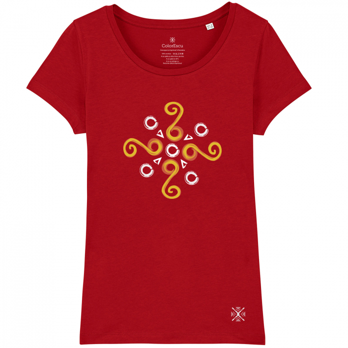 Tricou Simbol Cucuteni, damă, culoare roșie 0