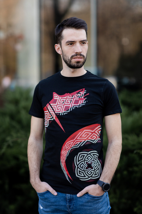 Tricou simbol Lupul Dacic - bărbat, negru 1