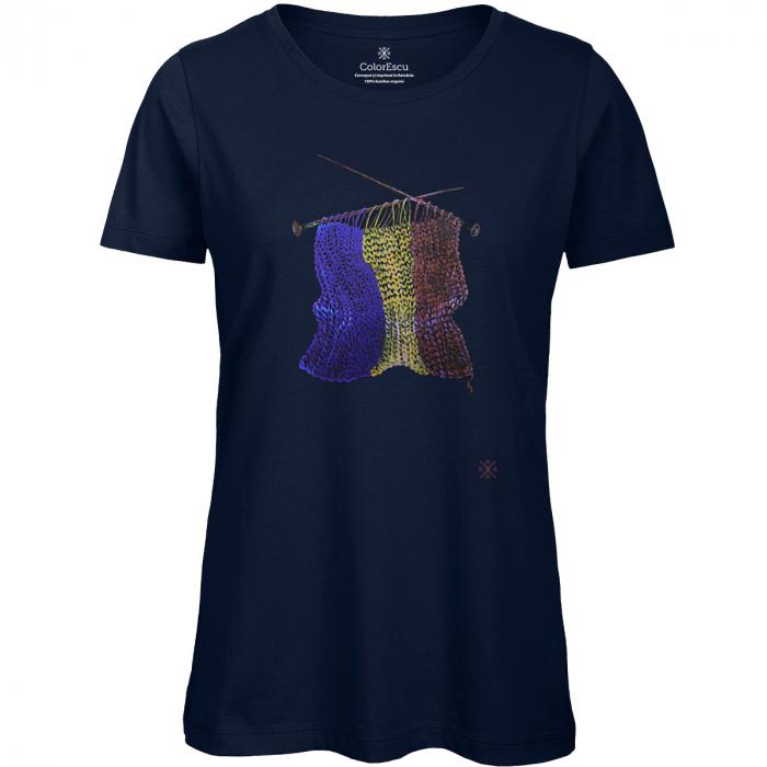 Tricou Tricolor Croșetat, damă, culoare bleumarin [0]