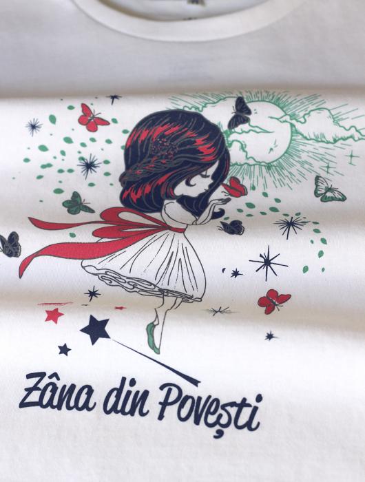 Tricou Zâna din Povești, copii, culoare albă 1