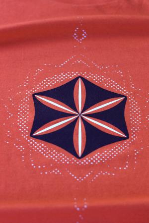 Tricou Floarea Vieții, damă, culoare corai1