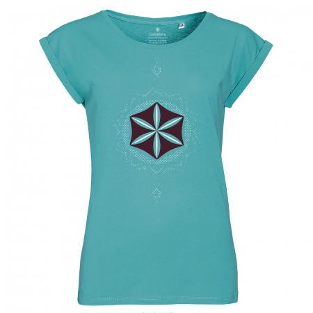 Tricou Floarea Vieții, damă, culoare turcoaz0