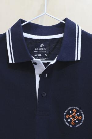 Tricou Simbol Cucuteni, broderie, culoare bleumarin3