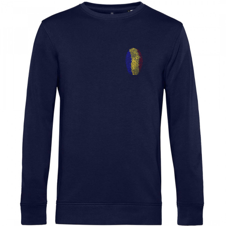 Bluză Amprentă România, broderie, culoare bleumarin [0]
