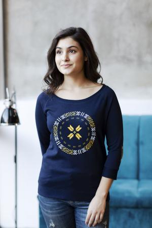 Bluză Semne Bune, mânecă 3/4, culoare bleumarin3