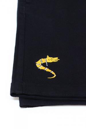 Pantaloni scurți casual Lupul Dacic, broderie, culoare neagră [2]