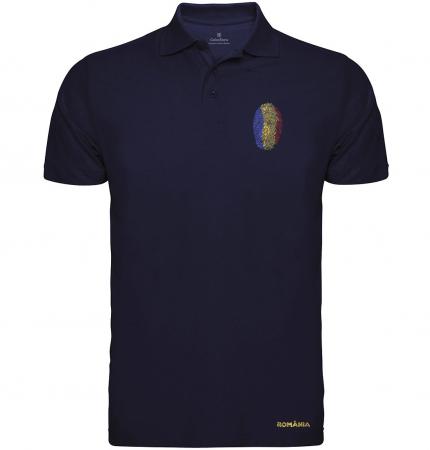 Tricou Amprentă România, broderie, bărbat, culoare bleumarin [0]