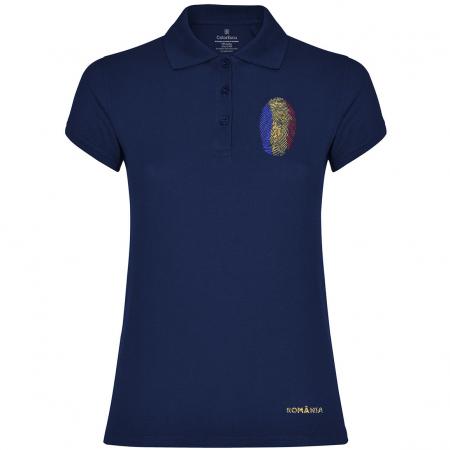 Tricou Amprentă România, polo, broderie, damă, culoare bleumarin [0]