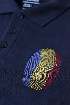 Tricou Amprentă România, polo, broderie, densitate mare, bărbat, culoare bleumarin [2]