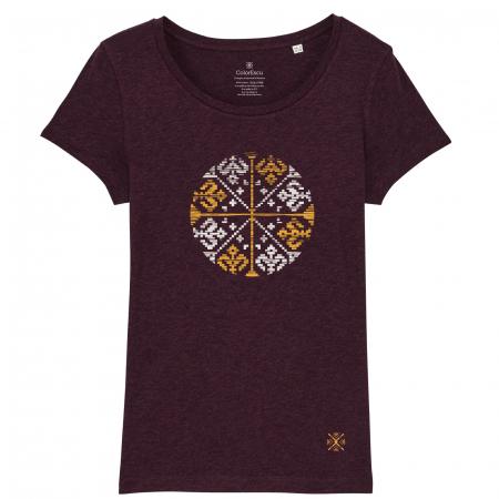 Tricou Floare Tradițională, culoare burgund0