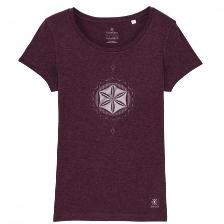 Tricou Floarea Vieții, damă, culoare burgund0