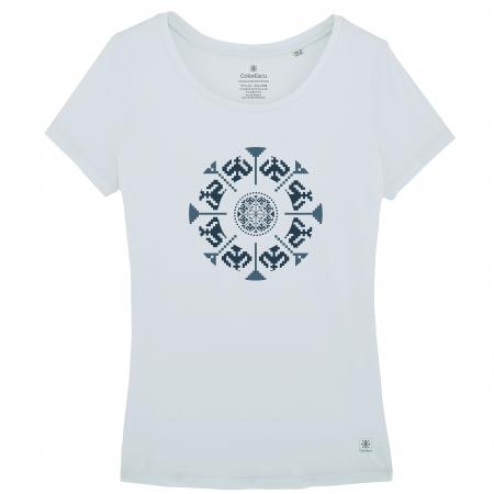 Tricou Floarea Tradițională, damă, culoare bleu [0]
