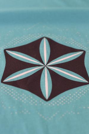 Tricou Floarea Vieții, damă, culoare turcoaz2