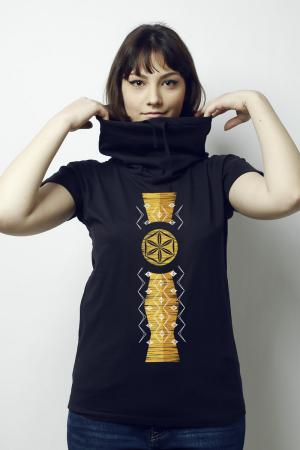 Tricou Infinitul, guler înalt, damă, culoare bleumarin4