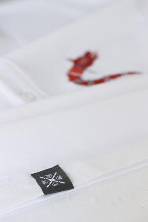 Tricou Lupul Dacic - brodat, bărbat, alb2