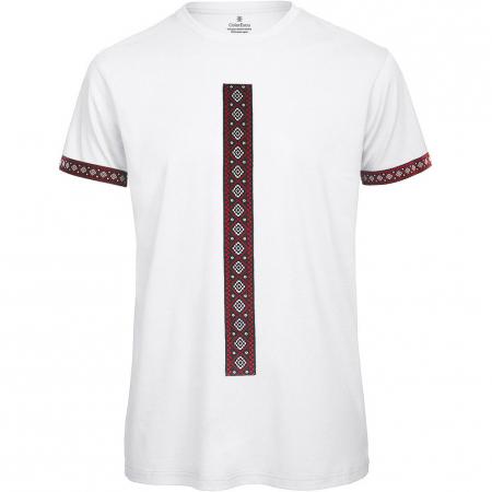 Tricou Motive Țesute - bărbat, culoare albă0