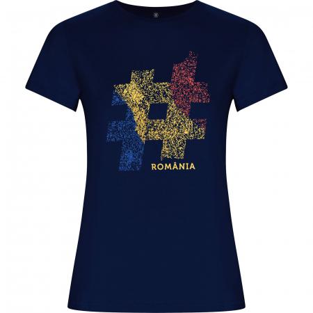 Tricou #România, damă, culoare bleumarin [0]