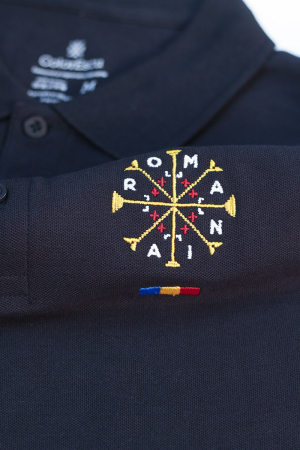 Tricou România - polo, brodat, bleumarin2