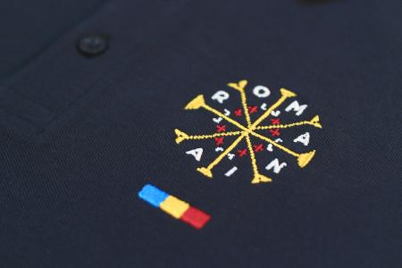 Tricou România - polo, brodat, bleumarin3