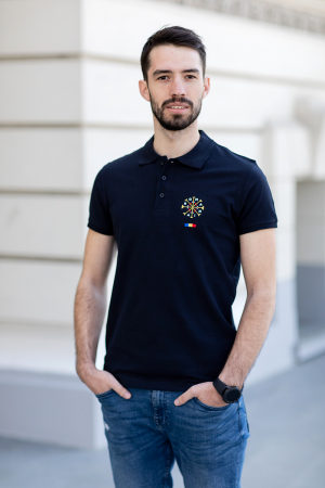 Tricou România - polo, brodat, bleumarin1