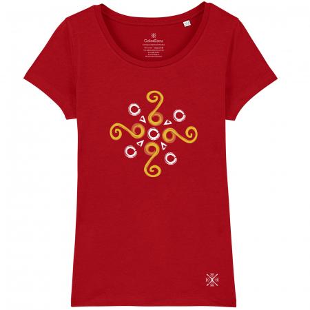 Tricou Simbol Cucuteni, damă, culoare roșie0