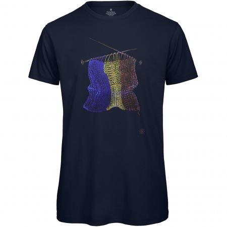 Tricou Tricolor Croșetat, bărbat, culoare bleumarin [0]
