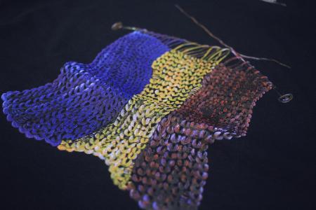 Tricou Tricolor Croșetat, damă, culoare bleumarin3