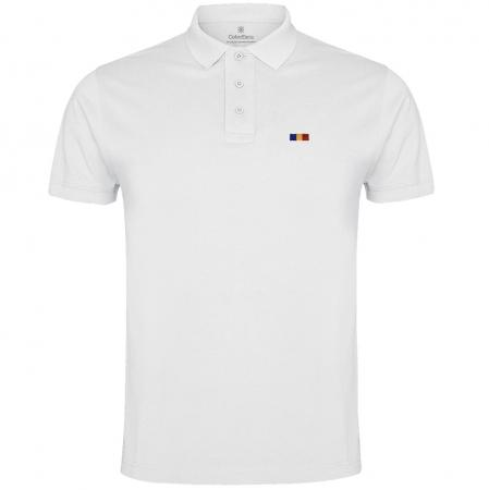 Tricou Tricolor Polo, broderie, bărbat, culoare albă [0]