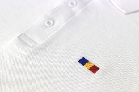 Tricou Tricolor Polo, broderie, bărbat, culoare albă [1]